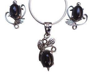 92.5% Sterling Silver Pendant Eartops Nature Inspired Black Onyx Gemstone (409)