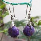 Purple Turquoise Earrings  925 Sterling SilverRound Dangle Jewellery Party (134)