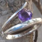 Solid Sterling Silver 92.5% Ring Gemstone Amethyst  size 6  Solitaire  (703)