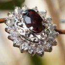 92.5% Sterling Silver Eartops Stud Natural Garnet  Handmade Jali cluster (559)
