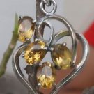 Sterling Silver 92.5% Heart Pendant Natural Citrine Gemstone Jewellery (506)
