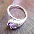 92.5% Sterling Silver Ring 2 Amethyst Gemstone size 6.75 Pear shape stone (154)