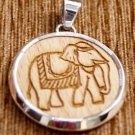 Pendant Wood carved Elephant 92.5% Sterling Silver 1.75 x 1.30 inch (335)