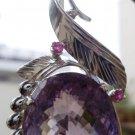 """Sterling silver 925 pendant Amethyst & Ruby big Amethyst stone 2.30 x 1.00"""" (24)"""