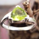 92.5% Solid Sterling Silver Ring Peridot Gemstone size 7.10 Solitaire (153)