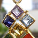 "92.5% Sterling Silver Pendant Chakra 22t Gold Plated Vermeil 1.5x 0.7"" (19)"