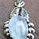 Moonstone Pendant Natural 92.5% Solid Sterling Silver 1.60 x 0.80 inches (118)