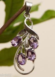"Amethyst Purple Pendant Handmade 92.5% Solid Sterling Silver 1.7x0.65"" (443)"