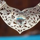 92.5% Sterling Silver Necklace cut Green Amethyst Gemstone jali handmade  (405)