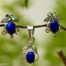 Eartops & Pendant Set in Gemstone Lapis Sterling Silver 92.5% (326)