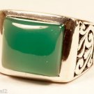 925 Sterling Silver Ring Rectangle Green Onyx Size 9.5 filigree handmade (675)