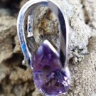 Pendant Natural Gemstone Amethyst 92.5% Sterling Silver 0.85 x 0.40 inches (82)