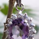 "Pendant Sterling Silver 92.5% Gemstone Amethyst Zircon cluster 1.0x0.5"" (69)"