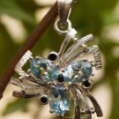 "Solid Sterling Silver 92.5% Pendant Gemstone Blue Topaz 1.20 x 0.80"" (444)"