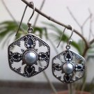 "92.5% Sterling Silver Earring Jhumka Natural White Pearl 1.4x0.8"" Handmade (88)"