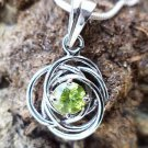 92.5% Sterling Silver Pendant natural Gemstone Peridot 1.00x0.60 inches (41)