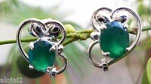 Sterling Silver 925 Gemstone Green Onyx studs Eartops handmade (45)