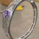 925 Sterling Silver Bangle Amethyst jali handmade Natural Gemstone (646)