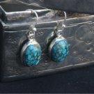 925 Sterling Silver Earring Blue Turquoise hook Dangler pierced Handmade (394)