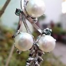 """Natural white Pearl & Emerald Pendant 92.5% Sterling Silver 2.10 x 0.80"""" (177)"""