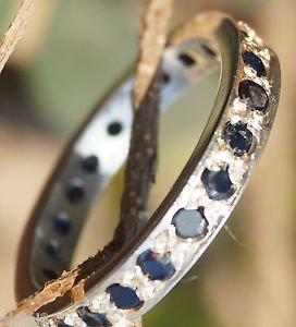 engagement Ring Band Sterling Silver 92.5% Natural Blue Sapphire size 9.90 (549)