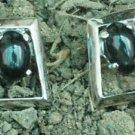 Sterling Silver 92.5% Earring Black Onyx stud Rhombus 0.40 x 0.35 inch (371)
