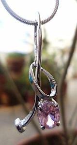 "Sterling Silver 92.5% Pendant Pink zircon AD handmade 1.00 x 0.40"" (51)"