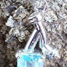 "Pendant 92.5% Sterling Silver Natural Gemstone Blue Topaz 1.30 x 0.55"" (130)"