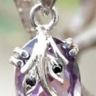 925 Sterling Silver Pendant Amethyst and Blue AD Handmade Cut Stone Purple (661)