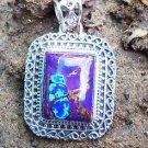 """Sterling Silver 925 Pendant Purple Turquoise Gemstone 1.55x0.95"""" fancy bail (173"""