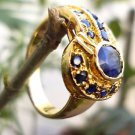 Sterling Silver 92.5% Ring Gold Plated Natural Blue Sapphire Gemstone size 7(40)