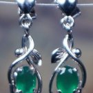 Earrings Handmade Gemstone Green Onyx 92.5% Sterling Silver 1.05 x0.30Inch (334)