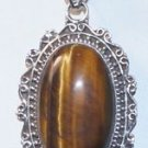 "925 Sterling Silver Pendant Tiger's Eye Gemstone with link chain 2.22x1.08""(747)"