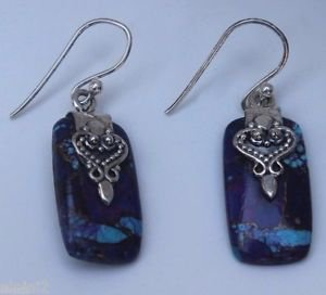 Sterling Silver 92.5% Earrings Purple Turquoise Rectangle Dangle Handmade (423)