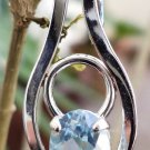Blue Topaz Pendant Natural Gemstone 92.5% Sterling Silver 1.00x0.50 Inch (112)