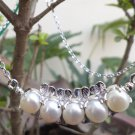 "Solid Sterling Silver 92.5% Necklace Natural White Pearl 19"" length (132)"