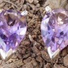 "Solid Sterling Silver 92.5% Stud Earring Pear Amethyst Gemstone 0.45x0.25"" (218)"