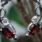Earrings Handmade 92.5% Sterling Silver Garnet Red gemstone 1.0 x0.40 Inch (242)