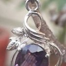 Solid Sterling Silver 92.5% Pendant Purple cut Amethyst Leaf Handmade (656)