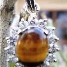 Pendant Natural Gemstone Tiger eye AD Cluster 92.5 Sterling Silver (53)
