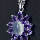 Designer Pendant Marquise Amethyst & oval Moonstone 925 Sterling Silver (527)