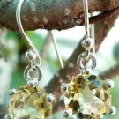 Sterling Silver 92.5% Earrings Hanging Citrine Natural Gemstone Solitaire (214)