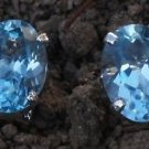 Sterling Silver 925 Blue Topaz Natural Gemstone Solitaire Eartops Studs (528)