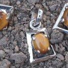 Sterling Silver 925 Pendant Earring Set natural Gemstone Tiger eye (521)
