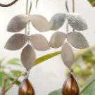 Solid Sterling Silver 925 Earring Pearl Dangle Brown Frosted Leaf Design (482)