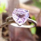 92.5% Sterling Silver Ring Heart shape stone Gemstone Amethyst size 6.80 (151)