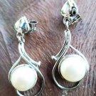 "92.5% Sterling Silver Jhumka Earring Handmade White Pearl 1.2"" x 0.5"" (87)"