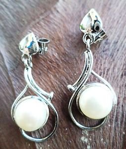 "92.5% Sterling Silver Jhumka Earring Handmade White Pearl 1.2"" x 0.5"" (87)"