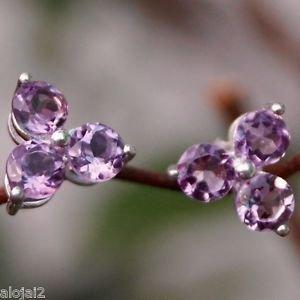 """92.5% Sterling Silver Stud Eartops Amethyst handmade purple 0.30x0.30"""" (235)"""