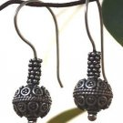 Solid Sterling Silver 92.5% Earring Round Traditional Bali Carved Handmade (472)